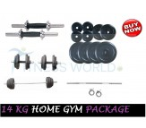 14 KG Home Gym Package, Rubber Plates & Dumbells Rods