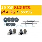 16 KG Rubber Plates + Dumbells Rods Body Maxx