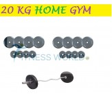 20 KG Home Gym Package, Rubber Plates + Bicep / Tricep Rod