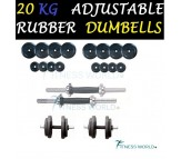 20 KG Rubber Dumbells Sets. Rubber Plates + Dumbells Rods.