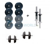 24 KG Rubber Dumbells Sets. Rubber Plates + Dumbells Rods.