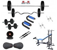 Body Tech 10 Kg Home Gym Combo with 8-in-1 Multi Purpose Bench + 4 Iron Rods Fitness Kit Combo-BT8IN10