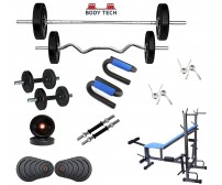 Body Tech 100 Kg Home Gym Combo with 8-in-1 Multi Purpose Bench + 4 Iron Rods Fitness Kit Combo-BT8IN100