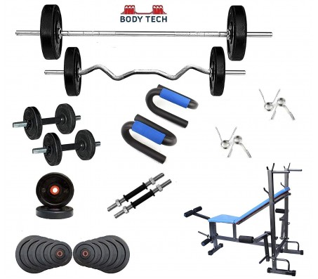 Body Tech 90 Kg Home Gym Combo with 8-in-1 Multi Purpose Bench + 4 Iron Rods Fitness Kit Combo-BT8IN90