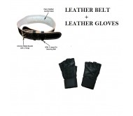 Combo Deal..!! Leather Belt + Leather Gym Gloves