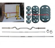 120 Kg Rubber Plates + 3 rods + Multi 6 in 1 Bench Heavy Duty