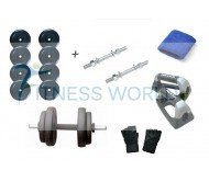 24 KG RUBBER PLATES + RODS + PUSH UPS BARS + GLOVES + WRIST BANDS