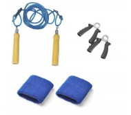 Basic Fitness Kit, Skipping Rope + Hand Grippers + Wrist Bands