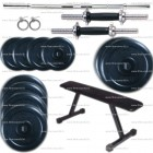 Mini Home Gym Package 22 kg Plates + Flat bench + 5 Ft Bar + Dumbells Rods + Locks