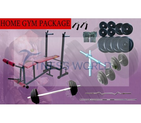 100 KG HOME GYM PACKAGE WEIGHT PLATES + MULTI 6 in 1 BENCH + RODS + GLOVES + GRIPPER