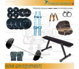 24 Kg Adjustable Home Gym Package, Rubber plates + Flat bench + 3 Rods + Gloves + Belt + Gripper