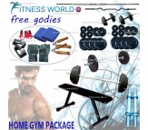 36 KG  HOME GYM PACKAGE, PLATES + RODS + BENCH + GLOVES + DIPS + GRIPPER + ROPE + BANDS & LOTS MORE
