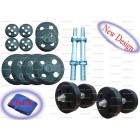 10 KG ADJUSTABLE RUBBER DUMBELLS SETS STEARING CUT RUBBERS PLATES 5 KG X 1 PAIR