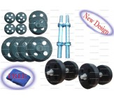 "30 Kg Branded Rubber plates stearing cut Design + Dumbells rods 14"" + Free Gift"