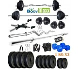 Body Maxx 10 Kg PVC Weight Plates, 5 and 3 ft Rod, 2 D. Rods Home Gym Equipment Dumbbell Set.