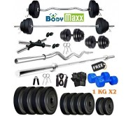 Body Maxx 45 Kg PVC Weight Plates, 5 and 3 ft Rod, 2 D. Rods Home Gym Equipment Dumbbell Set.