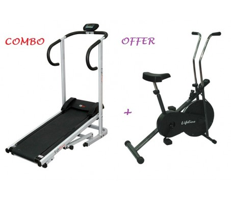 Manual Treadmill + Basic Static Exercise Cycle Lifeline Combo Deal
