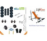 120 KG Body Maxx Complete Home Gym Set + Lifeline Multi Purpose Bench Press + 2 Rods + 4 Rubber Mats