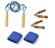 Body Maxx Combo Pack 2 Wooden Hand Grippers + Skipping Rope + Wrist Bands 1 Pair