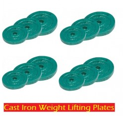 100 KG CAST IRON WEIGHT LIFTING PLATES HOME GYM SET