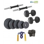Body Maxx 10 kg Adjustable Rubber Dumbells Home Gym With Gloves & Skipping Rope
