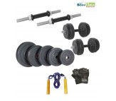 Body Maxx 12 kg Adjustable Rubber Dumbells Home Gym With Gloves & Skipping Rope