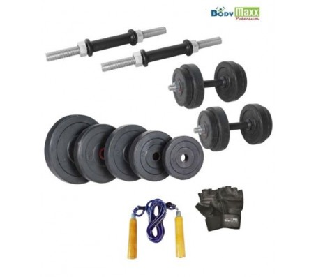 Body Maxx 30 kg Adjustable Rubber Dumbells Home Gym With Gloves & Skipping Rope