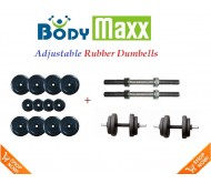10 KG Body Maxx Adjustable Weight Lifting Rubber Dumbells Sets