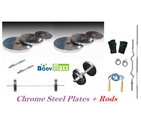 20 Kg Body Maxx Chrome Steel Plates + 5 Ft Bar + 3 Ft Curl Bar + 2 Dumbells Rods + Gloves