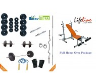 52 KG Body Maxx Complete Home Gym Set + Lifeline Multi Purpose Bench Press + 4 Rods & Lots more..!!