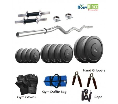 20 Kg Body Maxx Premium Home Gym Set + 3 Rods + Gym Bag + Rope + Gripper + Gloves..!!!!!!!!