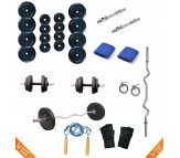 24 Kg Body Maxx Home Gym Package With 3 Ft Curl Bar + Gloves + Rope + Bands + 2 Rods + Locks