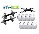 BODY MAXX 20 kg Steel Plates with Steel Dumbell rods (14 inch) for Home Gym