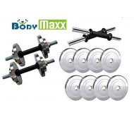 BODY MAXX 10 kg Steel Plates with Steel Dumbell rods (14 inch) for Home Gym