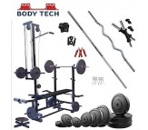Body Tech 10kg Pvc Home Gym Set With 20 In 1 Exercise Bench.