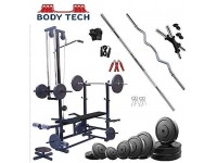 Body Tech 100kg Pvc Home Gym Set With 20 In 1 Exercise Bench.