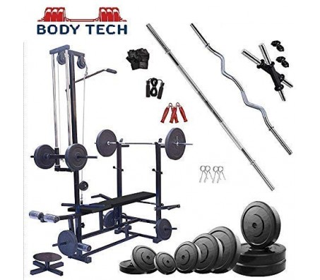 Body Tech 70kg Pvc Home Gym Set With 20 In 1 Exercise Bench.