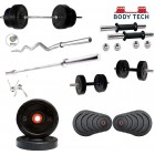 Body Tech Rubber 10kg-Combo with 14 Inches Steel Dumbbells Rod and 3 Feet Curl Rod and 5 Feet Straight Rod 25mm