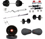 Body Tech Rubber 20kg-Combo with 14 Inches Steel Dumbbells Rod and 3 Feet Curl Rod and 5 Feet Straight Rod 25mm