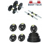 Body Tech 10kg Cast Iron Adjustable Home Gym Set with Steel Dumbbell Rods- COMBO10