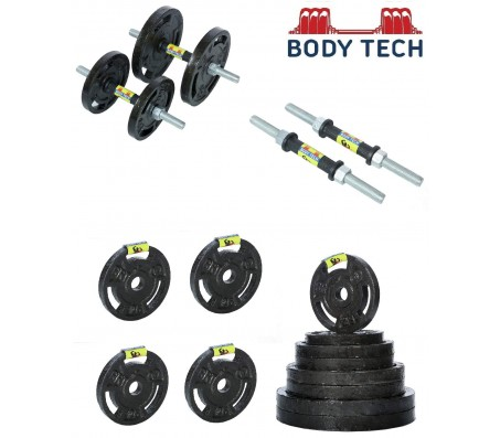 Body Tech 60kg Cast Iron Adjustable Home Gym Set with Steel Dumbbell Rods- COMBO60