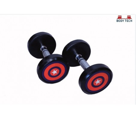 Body Tech 2.5kg Pair Of Pu Coated Captain America Dumbbells