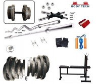 Body Tech 100 Kg Cast Iron Home Gym Fitness Kit  Handle Weight Lifting Pack with 4 rods and 3 in 1 Multi Bench