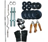 24 Kg Home gym package, Rubber plates + 4 rods + Gloves + gripper + push ups bars
