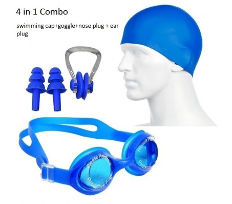 Body Maxx 4 In 1 Swimming Kit - Swimming Goggles, Swimming Cap, Ear Plug, Nose Clip