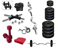 Body Maxx 40 Kg Home Gym PVC Plates Dumbells Sets Plates, 3 Iron Rods, 2 Dumbells, Gloves, Gym Towel, Locks